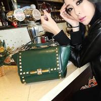 Free Shipping Punk Rivet Bag 2014 Vintage Women Handbag Ladies Shoulder Bags Green Red Black Pink Crossbody Bag Christmas Gift