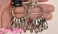 New Parachute Cord Stainless Steel Key Ring with 5 Alloy Key Chain Outdoor Camping Hiking Climbing Kits