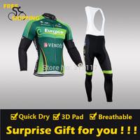 2014 Green Europcar winter Fleece Thermal Long Sleeve and Bib Pant Cycling Jersey/Wear/Clothing/Bicycle/Bike/Riding jersey/Gel
