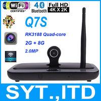 10pcspcs/lot Android 4.4 TV Box Q7S CS918s RK3188 Quad Core 2G/8G Built-in 2.0MP Webcam MIC WiFi DLNA Miracast XBMC Media Player