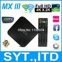5pcs/lot 2014 New Android 4.4 TV Box MXIII Amlogic S802 Quad Core XBMC Smart TV Mini PC MX iii 8 Core Mali450 1G/8G WiFi 4K HDMI