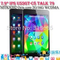 Octa Core 3G Tablet PC Cube talk79 U55gtC8 talk 79 MT8392 Phone Call 7.9inch 2048x1536 IPS 8.0MP Camera 2GB/16GB Android 4.4