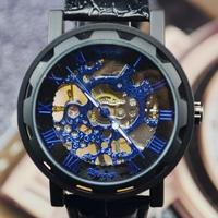 Original Brand Winner Men's Black Leather Luxury Blue Skeleton Dial Hand-Wind Up Mechanical Wrist Watch