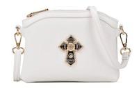 Free Shipping Black White Cross Double Zipper Women Handbags 2014 Female Shoulder Bag Fur Punk Crossbody Bags Christmas Gift