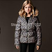 2014 new brand girls winter coat with leopard print for 2~11 years old children wear,European designer children jacket