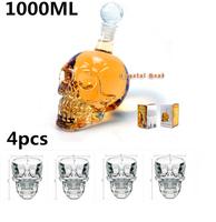 4 pcs Crystal Skull Head Vodka Whiskey Shot Glass+1 pc Crystal Head Skull Bottle 1000ml,Free Shipping
