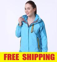 Women 2in1 Winter Waterproof Windproof Hiking Camping Outdoor Fleece ski snow Jacket coat clothing Outerwear Sportswear parka