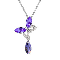 White gold plated Austrian crystal beauty butterfly necklace pendant fashion jewelry  1298n