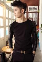 Men Korean Polyurethane Leather Fashion Slim Fit Long Splice Sleeve Casual T Shirt