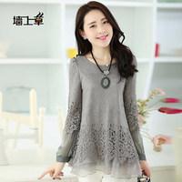 2014 women autumn long-sleeve medium-long lace basic shirt
