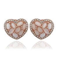 Top Quality18k gold gold plated austrian crystal rhinestone Opal stone heart stud earrings fashion jewelry 18KRGPE896
