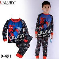 2014 boys long sleeve spiderman clothes set / baby sleepwear / kids clothing set