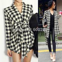 Fashion 2015 Spring Women's Long Sleeve Houndstooth Print Open Stitch Belt Peplum Slim Jacket Cardigan Coat Top Free Shipping