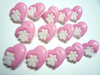Beautiful 15MM heart Flower Pink Plastic Button 100 PCS