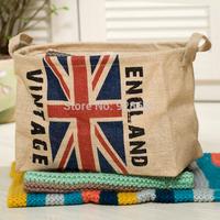 35*23*27CM ZAKKA Ecru UK FLAG,US FLAG bucket , storage basket home storage basket laundry bucket debris zakka,toy organizer bag