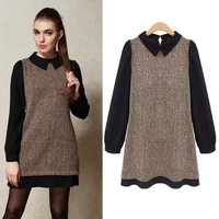 2014 Autumn Casual Women Dress Plus Size Winter New Fashion Desigual Long Sleeve Black Ladies Woolen Maxi Dresses XXL XXXL 1002