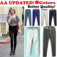 2014 women vintage American Apparel high waist easy jeans pencil Stretch Denim acid wash snowflakes pants white high waist jeans