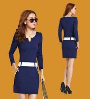 2014 New Fashion Autumn Slim Hip Fashion OL Business wear Elegant Long-sleeve Female Dress