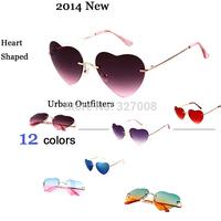 Urban Outfitters 2014 Fashion Heart Shaped Sunglasses Women Brand Designer Luxury Rimless Glasses Oculos Feminino Lunette Femme