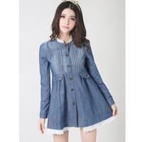 2014 New long section  lace denim dress fashion women