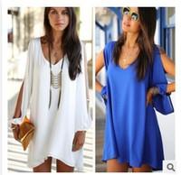 Women Summer Dress 2014 New Sexy Womens Loose Sexy V Neck Strapless A-line Casual Mini Shirt Dress White Beach dresses