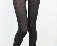 2014 Free Shipping Women Skinny Slim Mirco Velvet Black Heart Image Leggings Lady Fashion High Waist Casual Pants
