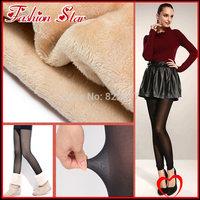 2014 Free Shipping Women Skinny Slim Mirco Velvet Black Leggings Lady Fashion High Waist Casual Pants
