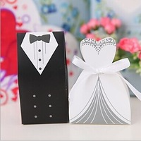 Free Shipping 200pcs Bride Groom Wedding Favor Boxes party gift candy box