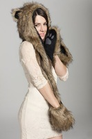 Wholesale Europe and America winter  faux fur hat  female cartoon imitation rabbit fur hat with a scarf