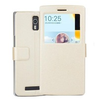 New Arrival Silk PU Leather Flip Case For Oppo Find 7 With Stand Holder+View Window Protective Case Cover Free Shipping