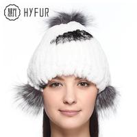 2014 new winter 100% real Rex rabbit fur hat women cap vertical stripes handmade knit hat 3pcs fox fur ball decoration