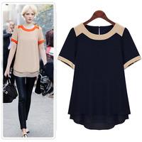 2014 Autumn Casual Women Blouse Plus Size New Fashion Brand Short-Sleeved Chiffon Shirt 1178 XXL XXXL