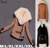 Lanluu Hot Selling 2014 Fashion Winter Coats Big Fur Collar Autum Women Slim Short Woolen Jackets SQ864