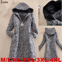 Lanluu Plus Size New Trendy 2014 Winter Autumn Long Sleeve Woolen Coat Hooded Women Jackets SQ865