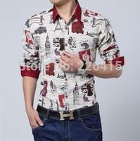 Free Shipping Fashion 2014 Retro cotton printed mens dress shirts long-sleeved men casual shirt slim fit camisa social msculina