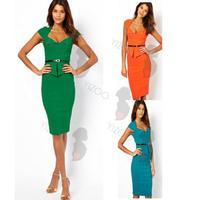 2014 New Arrival Summer Dress Sleeveless V-Neck Dress Women Work Wear Knee Length bodycon Dress Sexy Pencil Dress S-XL Vestidos