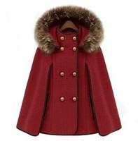 Free Shipping Warm Winter Women Coat Jacket. Fashion Detachabl Hoodede Fur Collar Woolen Shawls Jacket Women Cape-style Overcoat
