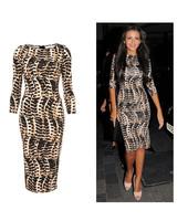 2014 New Fashion Ladies Celeb Leopard Bodycon Dress Summer Casual Half Sleeve Knee Length Evening Party Dress