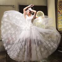 Korean version of the new 2015 wedding dress Qi shoulder lace flowers bridal wedding dresses vestido de noiva romantic 427