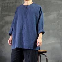 Male - original creation design blue cotton long-sleeve o-neck casual loose casual lay Buddhist clothing
