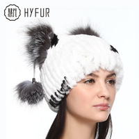 New 2014 100% Real Rex Rabbit fur hats for women vertical stripes knit winter hat silver fox fur balls on two sides