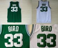 Free Shipping S-XXL Boston 33 Larry Bird Basketball Jersey, 2014 Cheap Mesh Embroidery Logos Larry Bird Jersey White and Green