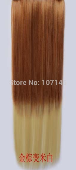 2014 New Fashion Cheap Sex Products Peruca Synthetic Cosplay Custume Two Tone Hair Long Straight Clip In Ombre Hair Extension(China (Mainland))