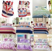 Discount 2014 newest bedclothes thick brushed cotton textile cotton bedding set denim linen quilt pillowcase wedding four sets
