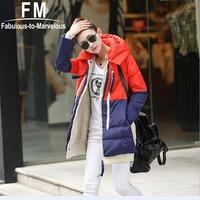 Down Coats Women's Korean Winter Coat Women Fashion Hoody Jacket Patchwork Plus Size Clothing Hooded Winter Coat 3XL AW14J011