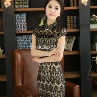 Lace cheongsam dress top 2015 new qipao fashion female chinese traditional dress sexy black lace cheongsam vintage xxl 428