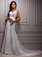 V-neck chiffon A-line simple wedding party dress A3545
