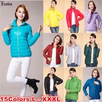 Lanluu 15 Candy Colors Optional Simple Design Winter Wear Short Women Down Cotton Coats SQ863