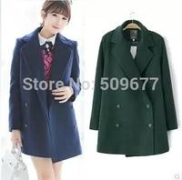 Woolen outerwear female autumn and winter 2014 girl's preppy style slim woolen overcoat thin medium-long overcoat coat