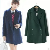 Woolen outerwear female autumn and winter 2014 girl's preppy style slim woolen overcoat thin medium-long overcoat coat